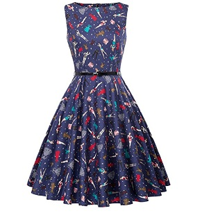BoatNeck Sleeveless Vintage Tea Dress with BeltSleeveless Vintage Tea Dress with Belt – $19.99-$29.99